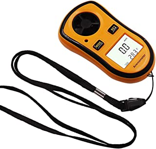 QYY 0-30M/S Portable Digital Anemometer, -10°C- 45°C LCD Wind Speed Gauge &Temperature Tester, Wind Chill Indicated Meter for Weather Data Collection Outdoors Sailing Surfing Fishing
