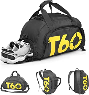 ZUMECA Gym Bag Travel Duffle Bag Backpack with Shoes Compartment for Men and Women,35L Mini Sports Gym Backpack Travel Luggage Bag (Black)