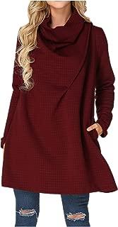 Womens Cowl Neck Sweater Dress Plus Size Long Sleeve A Line Mini Swing Dress