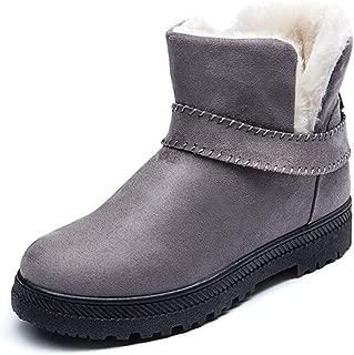 Women Slip On Winter Ankle Booties Warm Fur Lined Low Heel Anti-Slip Casual Faux Suede Short Boot