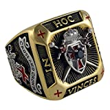 UNIQABLE Knight Templar Masonic Ring 18k Gold PLD Shield & Sword Yellow Version 45 Gr Handcrafted BR-3 (11.5)