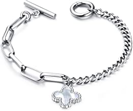 Fashion Ahead Charm Bracelet for Women Girls Stainless Steel Chain Link Toggle Clasp, 7.3 inches,Silver Rose Gold