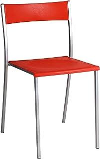 Brenda roja Silla metálica asiento PP para cocina, comedor, balcón o terraza interior. 1 unidad