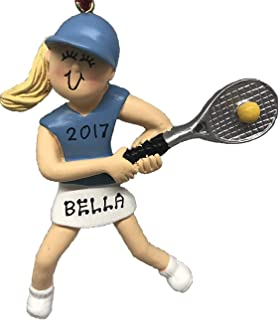 Personalized Female Blonde Tennis Christmas Ornament 2019