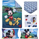 Disney 4 Piece Toddler Bedding Set Mickey Mouse Playhouse Blue/White, Fits Standard Toddler beds with a 52' x 28' Mattress.