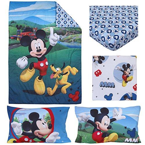 Disney Parure de lit 4 pièces pour Enfant Mickey Mouse Playhouse, Bleu/Blanc, Matelas Standard pour Enfant (132,1 x 71,1 x 20,3 cm)