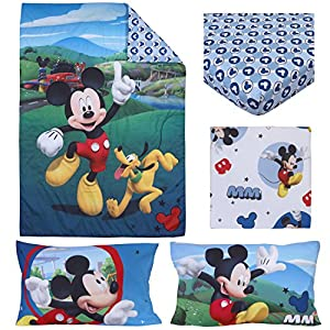 """crib bedding and baby bedding disney 4 piece toddler bedding set mickey mouse playhouse blue/white, fits standard toddler beds with a 52"""" x 28"""" mattress."""