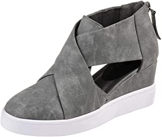 Kauneus 📢📢 Women's Concise Criss-Cross Cut-Out Wedge Sneakers Comfortable Back Zipper Shoes