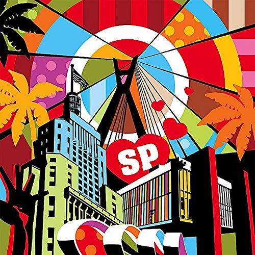 Kit de pintura diamante completo hecho a mano del cómic animal de animación DIY 5D Serie de cuadros abstractos de paisajes urbanos 40 x 40 cm