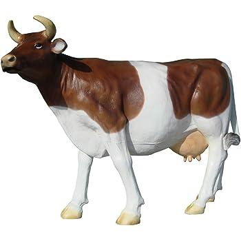 Kuh Figur Gartenfigur braun weiß liegend Deko Statue Kalb Bauernhof Tierfigur