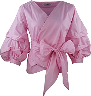 Women Spring Summer Blouses with Puff Sleeve Sashes Shirts Tops