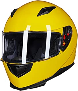 ILM Full Face Motorcycle Street Bike Helmet with Removable Winter Neck Scarf + 2 Visors DOT (XL, Yellow)