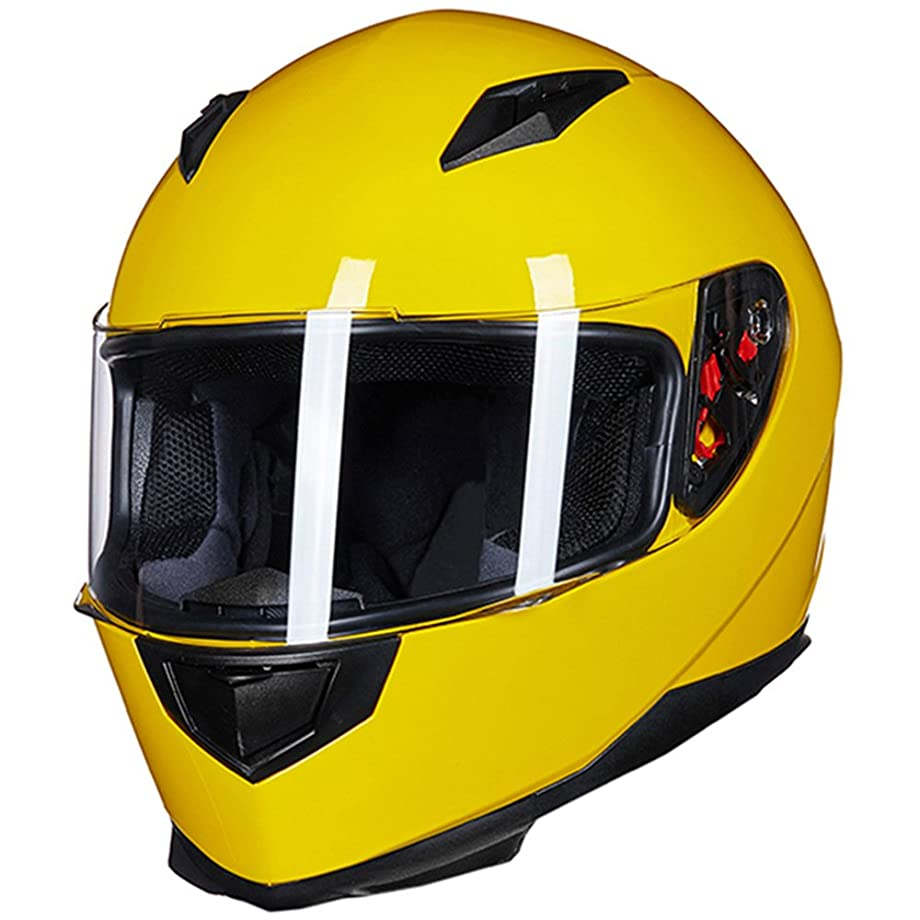 ILM Full Face Motorcycle Street Bike Helmet with Removable Winter Neck Scarf + 2 Visors DOT (S, Yellow)