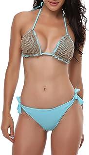 Qitun Mujer Playa para Bano De Dos Piezas Bikini del Halter Cruzado De Trajes De Baño Bikini Tejido de Punto Bra Traje de ...