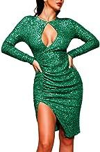 kHVeam Dress Slim Cocktail Party Long Mini Dress Sexy V-Neck Sequins Irregular