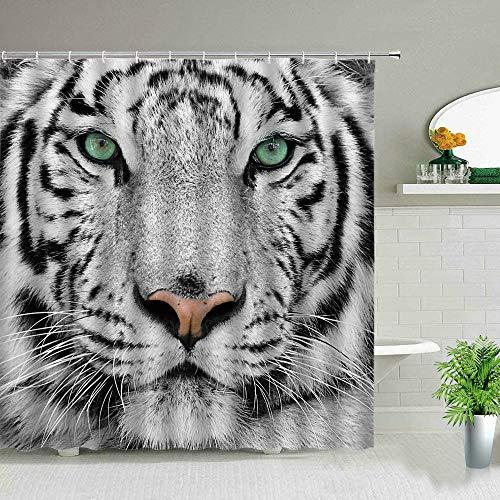 ZZYJKSD Elefante Cebra Tigre Leopardo Cortinas de Ducha de Tela Impermeable Animales de África Cortinas de baño Impresas Decoración de bañera con Ganchos - 180X180CM
