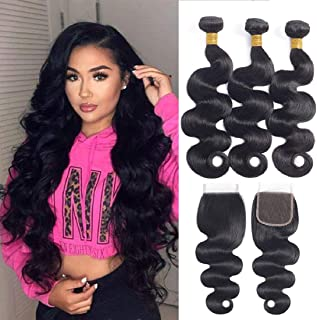 Brazilian Body Wave Bundles with Closure (20 22 24 +18 Free Part) 100% Unprocessed 8A Brazilian Virgin Hair with Closure 3 Bundles Human Hair Weave With Lace Closure Free Part Natural Color