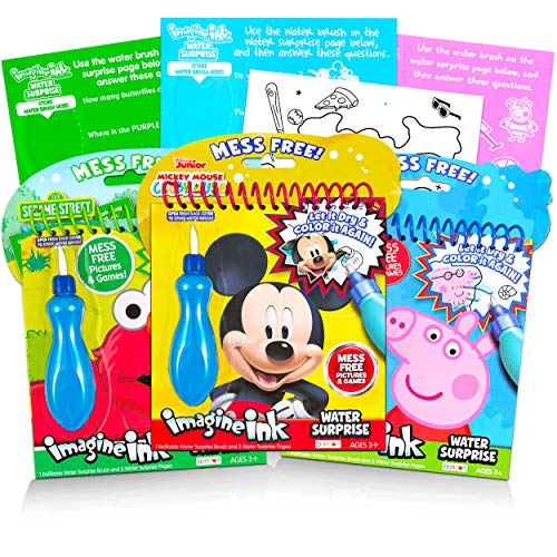 Imagine Ink Water Painting Books Set for Toddlers Ages 2-4 Kids Ages 3-5 ~ 3 Pack No Mess Paint with Water Books with Water Surprise Brushes, Mickey Mouse, Peppa Pig, Sesame Street Elmo Bundle