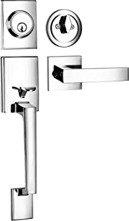 Berlin Modisch Single Cylinder HandleSet with Lever Door Handle (for Entrance and Front Door) Reversible for Right and Left Handed and a Single Cylinder deadbolt Handle Set Polished Chrome Finish