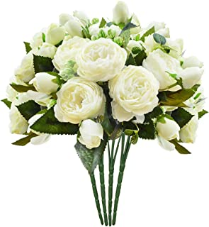 Artsay 4 Pack Artificial Peony Flowers Fake Silk Flower Wedding Bouquet Bridesmaid Bridal Party Centerpieces Decoration, Ivory
