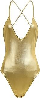 Sexy Women One-Piece Shiny PVC Leather High Cut Leotard Bikini Bodysuit Swimsuit