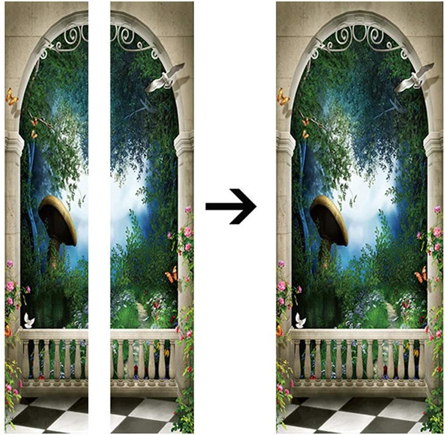 Home Decorative PVC Wall Stickers Giant Mushroom Door Corridor Stickers Modern Porch Stickers 3D Simulation Decorative Wall Stickers