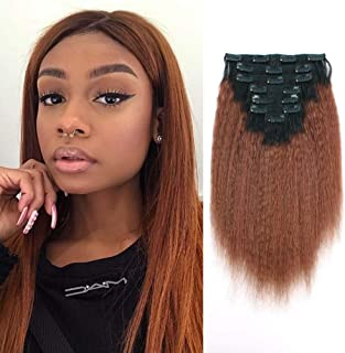 Lovrio 9A Grade Kinky Straight Human Hair Clip Ins Remy Virgin Human Hair for African Americans Ombre Tone Natural Black Fading into Auburn Brown KSTN33 7 Pcs 16 Clips 120g 14