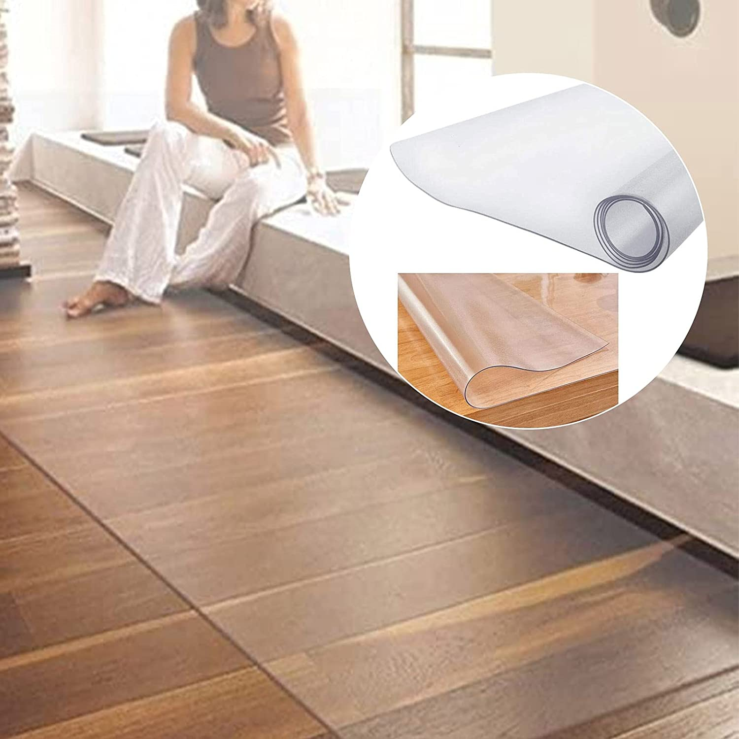 TTOOD Clear Chair Mat for PVC Floors half Transparent Safety and trust Hard