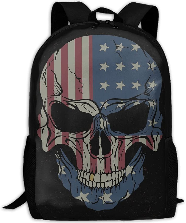 GDGJWLGF USA Flag Angry Skull Adult Shoulder Bag Backpack Travel Daypack for Sports,College