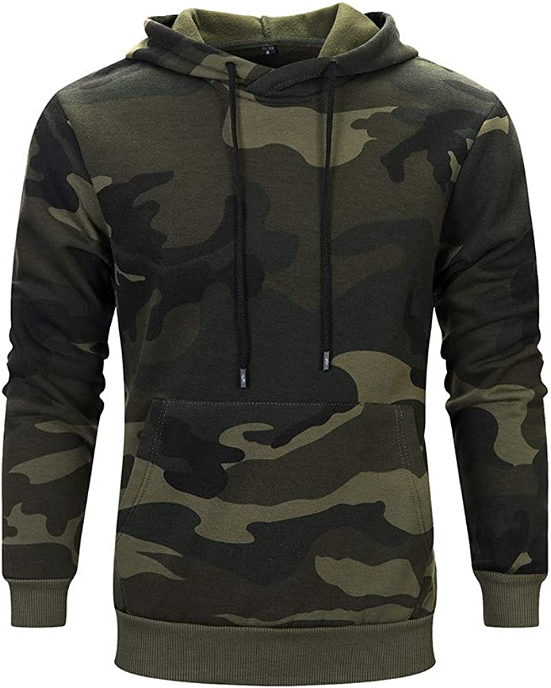Cookinty Hoodies for Men Camouflage Loose Long Sleeve Sweatshirt Pullover Workout Sports Sweater Hoodies