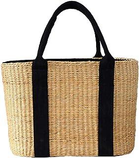 b8b47f25e021b2 Xixik Rattan Tasche, Schwarz Riemen Stroh Korbtaschen Damen Strandtasche Vintage  Handarbeit Umhängetasche Kleine Sommer Korbtaschen
