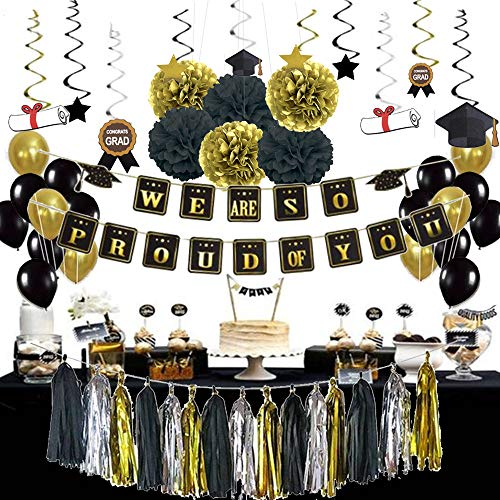 2021 Graduation Party Supplies Decorations Kit - BHSTAR Black Gold Tissue Paper Pom Poms, Sparkling Hanging Swirls, Graduation Banner for Wedding, New Year Eve Party Supplies 2021