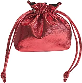 Wultia - New Hot Fashion Bucket Drawstring Pocket Wild Diagonal Shoulder Bag Shiny Patent Leather Bundle Pocket Messenger Bags #M Red