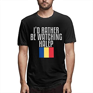 huagu I'd Rather Be Watching Halep Men's Fashion T Shirt Cotton Casual Short Sleeve