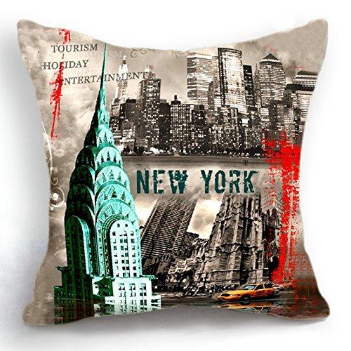 Telisha Housse de coussin style rétro New York City 45 cm