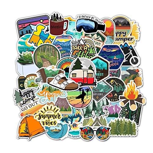 Stickers y Pegatinas de Vinilo 50 Pack. Pegatinas con diseños Únicos para Electrónicos, Laptops, Termos, Celulares, Guitarras, Refrigeradores, Bicicletas, Patinetas, etc. Calcomanias Decorativas. Estampas decorativas de alta Calidad HD. (Camping)