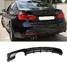 FRP MP Style Rear Bumper Diffuser Lip Dual Muffler Single Out for BMW 3 Series F30 320i 325i 328i 335i M-Tech M Sport (Matt Black)