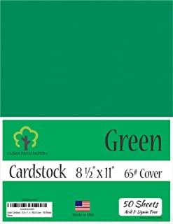 Green Cardstock - 8.5 x 11 inch - 65Lb Cover - 50 Sheets
