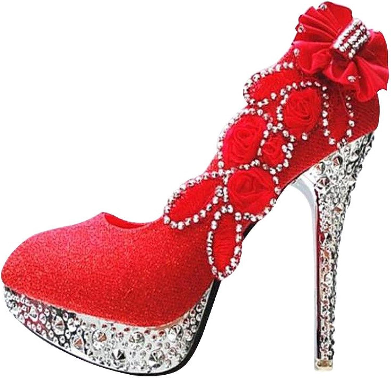 Excellent.c Fashion high Heels Round Toe Women's shoes Platform Flower Stilettos