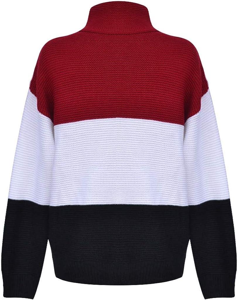 ZEELIY Damen Rollkragen Strickpullover Strickpulli Einfarbig Langarm Pulli Pullover Grobstrick Sweatshirt Winterpullover X2-schwarz
