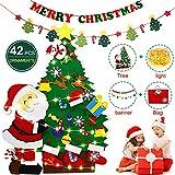 HOTOOLME Filz Weihnachtsbaum mit LED Lichter, Weihnachtsbanner, 42 Stück abnehmbare Ornamente und Geschenktüte Lagerung für Kinder, Neujahr, Weihnachten, DIY Wandbehang Dekoration (4ft)