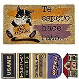 LucaHome - Felpudo de Coco Natural 70x40 con Base Antideslizante, Felpudo de Coco Divertido Te espero Hace rato,Felpudo Absorbente Entrada casa, Ideal para Puerta Exterior o Pasillo