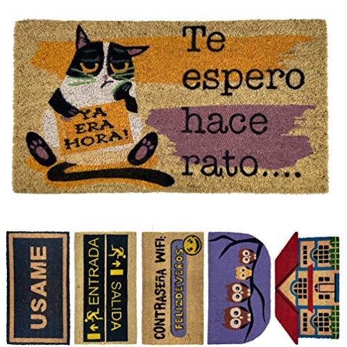 LucaHome - Felpudo de Coco Natural 70x40 con Base Antideslizante, Felpudo de Coco Divertido Te espero Hace rato,Felpudo...