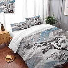 HRoomDecor Japanese Printed Pattern Bedding Set Pine Trees on The Hills Oversized King(120x98 Inch) Duvet Cover Set for Bedroom