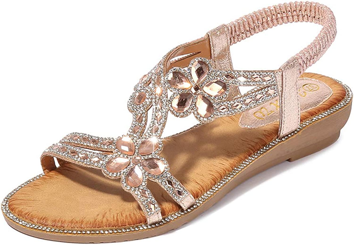 Navoku Leather Bling Beaded Flowers Fashion Sandles Womens Sandals