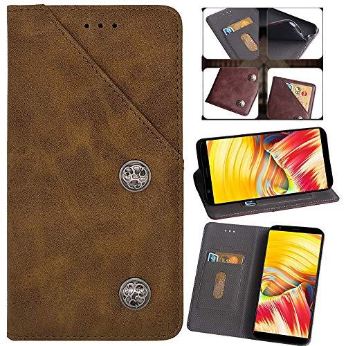 QHTTN Flip Premium Retro Echt Leder Tasche Hülle TPU Silikon Für Doogee Y6 Max Lederhülle Handyhülle Schutzhülle Handy Schale Etui Brieftasche Cover Case (Braun)