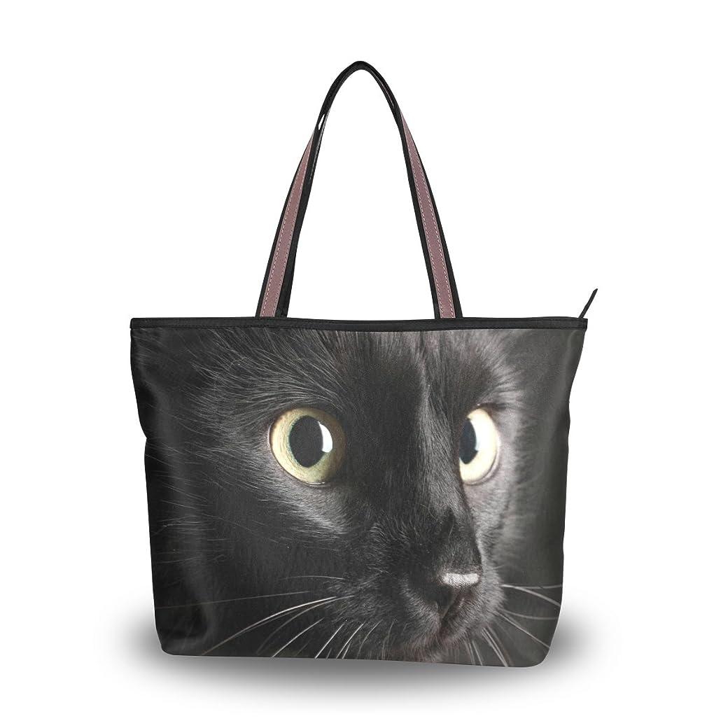 ダウンタウン同様の肩をすくめるUSAKI(ユサキ)おしゃれ レディース ハンドバッグ トートバッグ,猫の日 かわいい 面白い 黒猫 ブラックキャット ネコ 猫,軽量 通勤 通学 ファスナー付き ママ かばん 手提げバッグ ビジネスバッグ A4 入学式 卒業式 誕生日 プレゼント