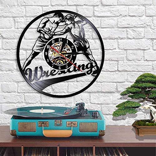 QIANGTOU Reloj de Pared con Registro de Vinilo de Combate de Lucha para Hombres, Reloj de Pared artístico para decoración del hogar, Reloj de Pared Vintage Deportivo de