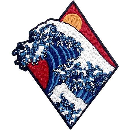 Toppa ricamata da applicare con ferro da stiro o cucitura, tema: Tsunami Grande onda