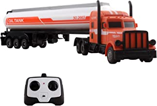 Vokodo RC Semi Truck And Fuel Trailer 18 Inch 2.4Ghz Fast Speed 1:16 Scale Electric Oil Hauler Rechargeable Remote Control Kids Big Rig Toy Carrier Vehicle Cargo Car Great Gift For Children Boys Girls